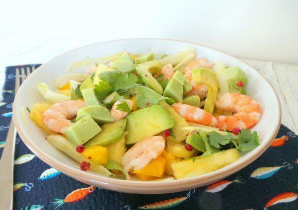 Une recette Fraîche, savoureuse et colorée… faites sans tarder une salade d'avocat et de mangue